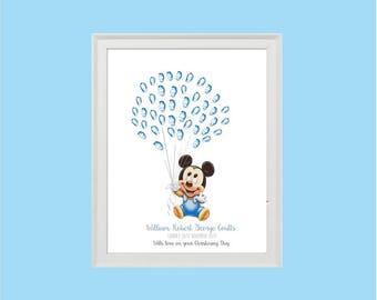 Mickey Mouse Baby Fingerprint Balloons Keepsake - BABY SHOWER - Christening - BIRTHDAY - Fingerprint tree - Guest book alternative