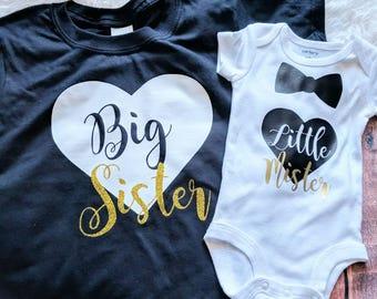 4f7658a6f3c8 Sibling shirts, matching sibling shirts, big sister little brother shirts, Big  sister little mister shirts, kids shirts
