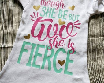 Girls Second Birthday Shirt 2nd Toddler Girl Fierce