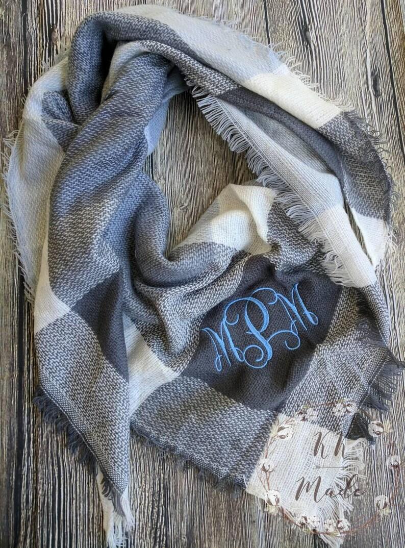 Monogrammed blanket scarf Monogrammed scarf personalized image 0