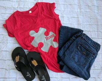 Autism mom shirt, autism awareness shirt, strong autism mom shirt, autism shirt, autism awareness month shirt, puzzle piece shirt
