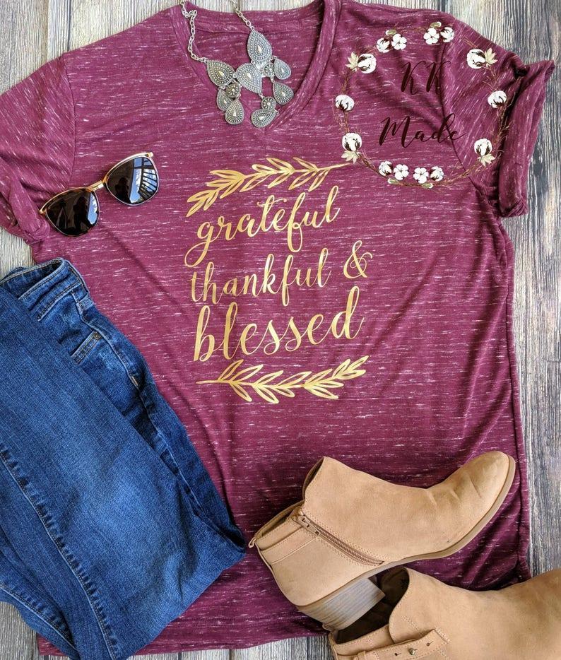 Grateful thankful blessed shirt Thanksgiving shirt Christian image 0
