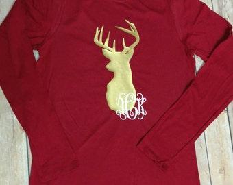 monogrammed deer shirt, hunting season shirt, womens monogrammed shirt, monogrammed antlers shirt, monogrammed deer shirt, hunting shirt