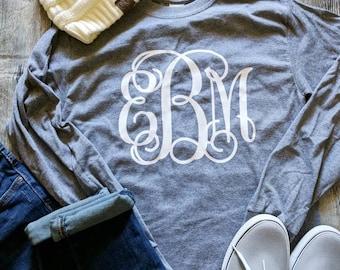 Monogrammed shirt, women's monogrammed shirt, monogrammed long sleeve shirt, pumpkin spice shirt, Monogrammed gift, gift for women
