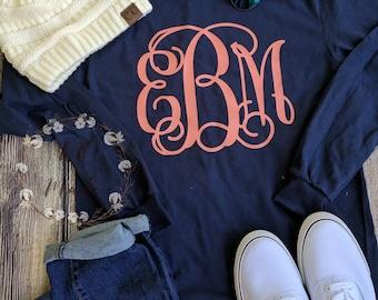 Preppy large Monogrammed t-shirt, monogrammed shirt, monogrammed t-shirt, monogram shirt, monogram t-shirt, preppy monogram shirt