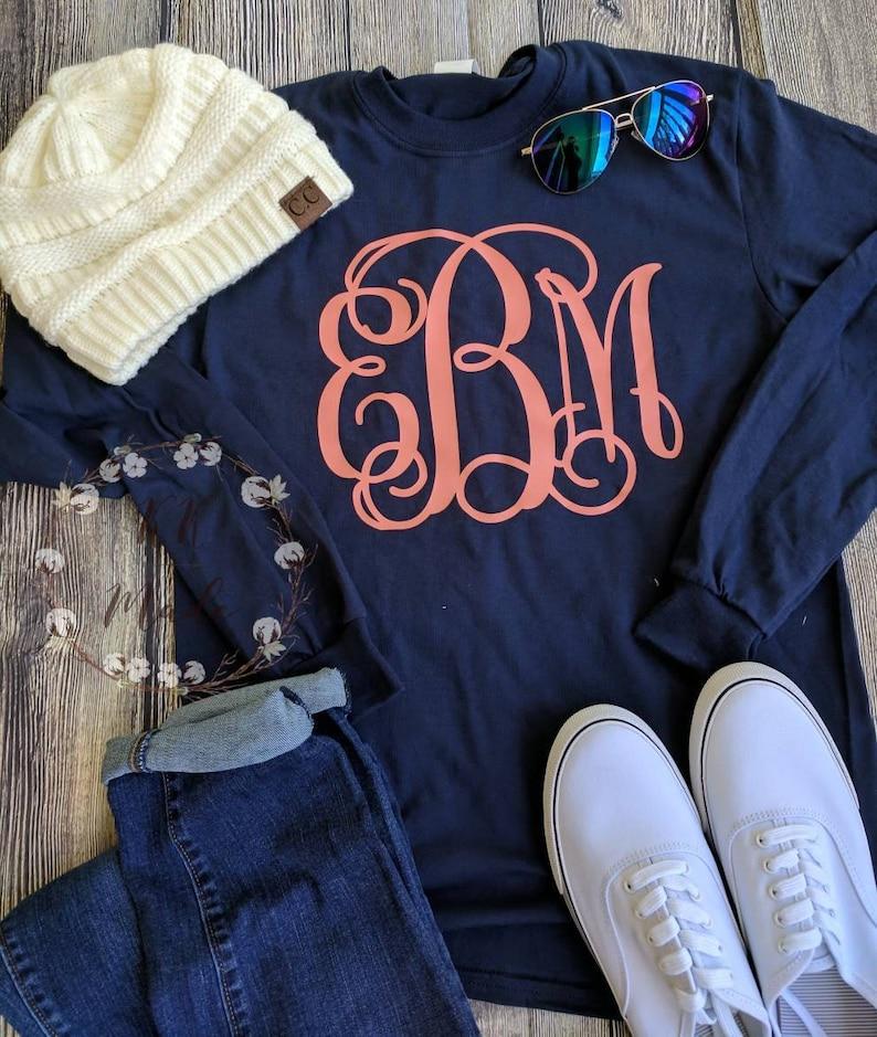 Preppy large Monogrammed t-shirt monogrammed shirt image 0