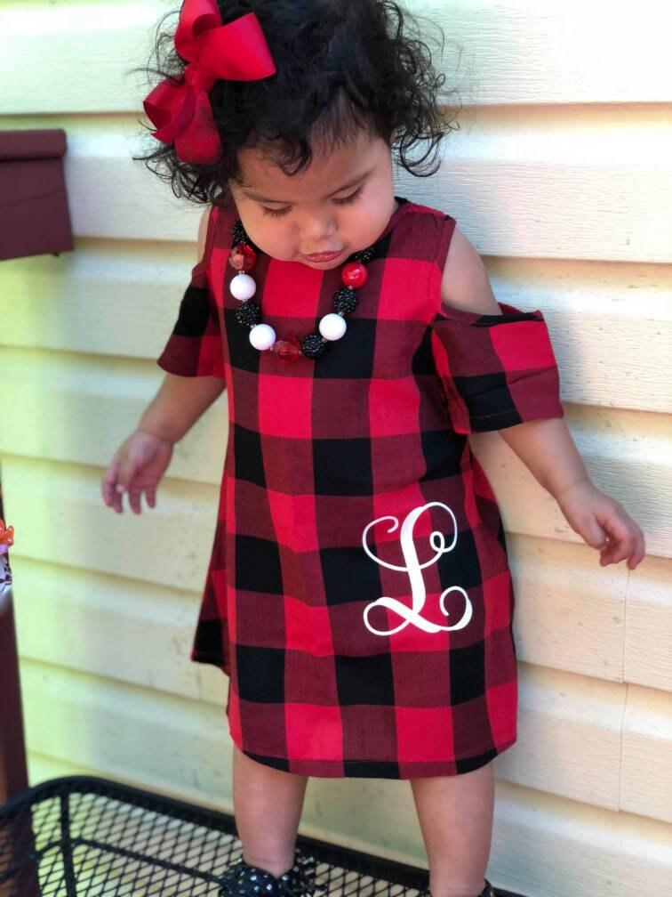 19f1091d8cc7ce Kerst jurk meisjes kerst jurk Buffalo geruite jurk rode en