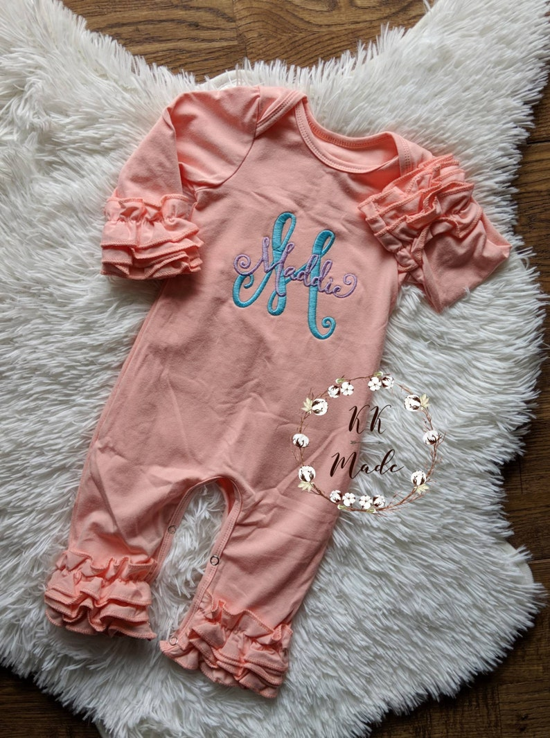 8f491a3f55ac Monogrammed baby girl romper monogrammed baby girl gift baby