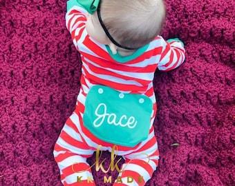 Custom Christmas pajamas, butt flap Christmas pajamas, baby Christmas PJs, unisex Christmas PJs, my first Christmas pajamas