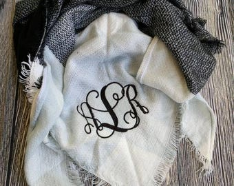 Monogrammed blanket scarf, Monogrammed scarf, personalized scarf, Christmas gift scarf, women's scarf, scarf with initials