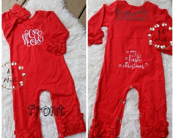 Baby girl Christmas outfit my first Christmas outfit, ruffle sleeve romper, monogrammed Christmas outfit, red icing ruffle sleeve
