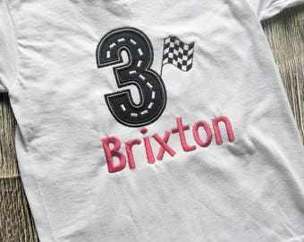 Race car birthday shirt, third birthday racing shirt, second birthday racing shirt, boys birthday shirt, boys racing shirt,