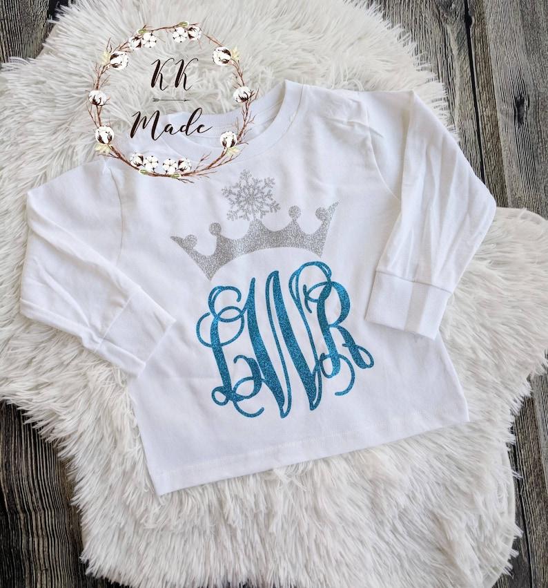 Snowflake Crown Monogram Shirt Toddler Birthday