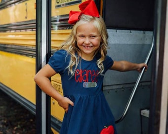 Back to school outfit, first day of school outfit, school dress, kindergarten dress, Apple dress, first day of school dress