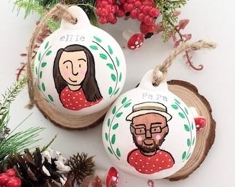 Personalised Portrait Bauble | Custom Christmas Decoration | Hand Painted | Family portrait | Kids Christmas | Ceramic Bauble | Gemma Eve