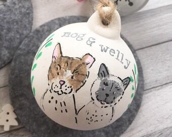 Français Bulldog chien de compagnie Noël Personnalisé Gravé Clair Noël Babiole