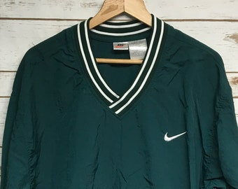 260c5437296198 Vintage 90 s Nike Nylon pullover windbreaker forest green lightweight thin  V neck pullover windbreaker embroidered Nike check - XL