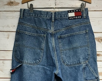 a640f6fa43 Vintage 90 s Tommy Hilfiger Carpenter jeans loose fit wide leg Tommy jeans  high waist Vintage hip hop jeans worn in - 30.5 x 28