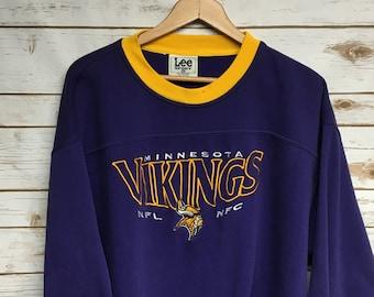 68dbb3cb18b Vintage 90's Minnesota Vikings football crewneck sweatshirt Lee Sport  Embroidered Vikings sweatshirt Vikings football crew neck shirt - XL
