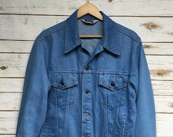 3023845d29a Vintage 70's 80's JC Penney Big Mac Light Blue Jean jacket denim jacket  Cotton/Poly blend light blue soft distressed work wear - Medium