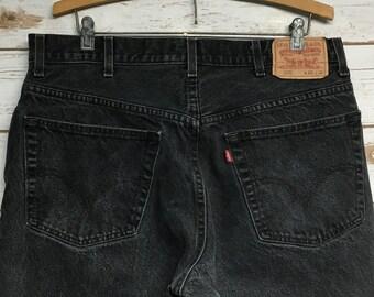 364027b01df Vintage 90's Levi's 505 Black denim jeans High waisted Levi's jeans  straight leg regular fit Levis 505 red tab high waist festival - 35 x 29