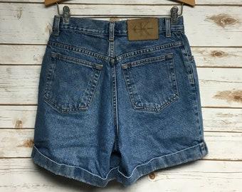 8aac0b74 Vintage 90's Women's Calvin Klein denim jean shorts High waist festival  boho hippie shorts high waisted shorts - 26.5 waist