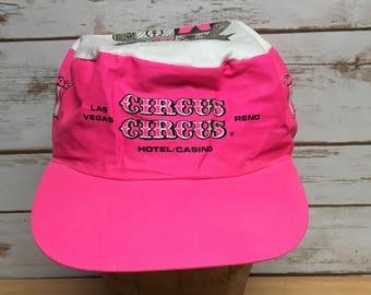 73de571f Vintage 80's 90's Pink Circus Circus Hotel Las Vegas snapback hats hipster  lightweight 90's neon pink snapback baseball cap Casino