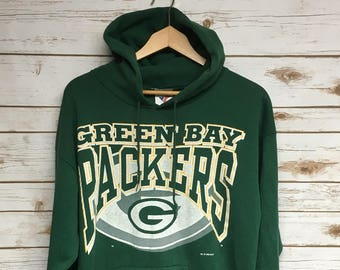 Vintage 90's Green Bay Packers hooded sweatshirt Packers football soft and lightweight green hooded sweatshirt Wisconsin football - Medium J7yg8R
