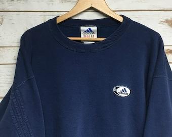 e517fd39eb55 Vtg 90 s Adidas crewneck sweatshirt Three Stripes Adidas embroidered Adidas  Blue crew neck sweatshirt Made in USA Faded Blue - Large