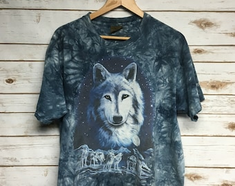 Vintage 90 s The Mountain Wolf tie dye t shirt Lone wolf wolves wolf pack  blue tie de Minnesota souvenir t shirt hippie boho - Large XL c087c7db6