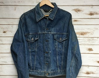 05818ac3b6a Vintage 60's JCPenney denim jacket faded distressed stained Made in USA  Union Made hippie jean jacket 2 pocket JC Penney - Large/Medium