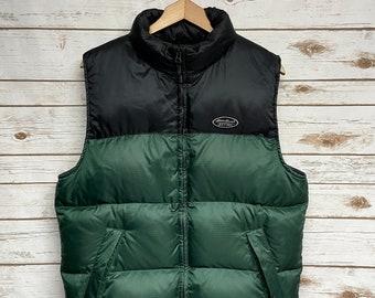 Vintage 90's Eddie Bauer Ebetek down puffer vest zippered down vest ski vest hiking outdoor color block - Small/Medium