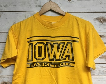 6ec0ba63459 Vintage 80 s University of Iowa Basketball t shirt Berkenpas Basketball  player Iowa t shirt Herky Made in USA Iowa crewneck - Small Medium