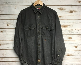 70d3bb89c741 Vintage 90 s Tommy Hilfiger button up shirt light black gray Tommy Ranger  shirt vintage hip hop 90 s party shirt cotton shirt - Medium