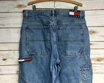ab174996 Vintage 90's Tommy Hilfiger Carpenter jeans loose fit wide leg Tommy jeans  high waist Vintage hip hop jeans worn in - 36 x 29.5