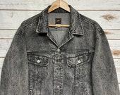 Vintage 80 39 s Lee denim jacket distressed denim Black jean jacket Lee Riders 4 pocket jean jacket hippie Barn coat 44 - Large