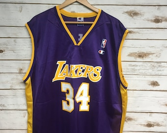 eea94f2e0 Vintage Shaquille O  Neal Champion Los Angeles Lakers Home Jersey Number 34  Purple Lakers jersey Champion basketball jersey - Size 48 XL