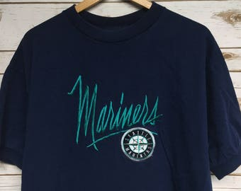 b1f544333fd98 Vintage 90 s Seattle Mariners baseball tshirt navy blue embroidered Mariners  baseball tee ringer t-shirt Ken Griffey Jr era - XL