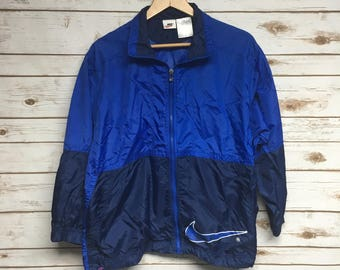 4744e1f3e2e3 Vintage 90 s Nike windbreaker jacket blue Nike Swoosh Just Do It windbreaker  coat hip hop athletic jacket - Small