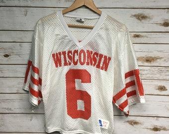 7234d5fee33 Vintage University of Wisconsin Badgers football jersey mesh Crop top half  jersey Number 6 Mesh crop top -Small/Medium