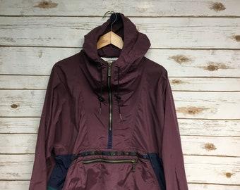 1ee28e4b Vintage 90's Women's LL Bean Anorak pullover jacket windbreaker anorak  aztec print Made in USA John Mayer style maroon - Large