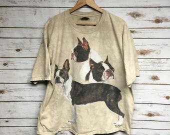 9785434a940 Vintage The Mountain Boxer dog t shirt tie dye brown dog hippie t shirt  animal print The Mountain t-shirt boxy fit - XL