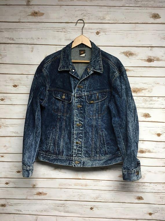 Vintage 70's 80's Lee denim jacket distressed Dark