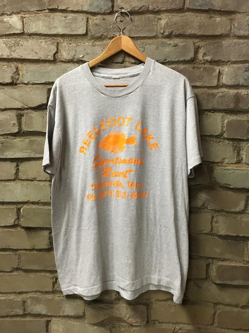 Vintage 80's Reelfoot Lake Sportsman's Resort Tiptonville, Tennessee  t-shirt heather gray super soft thin Bluegill fish tee - Large