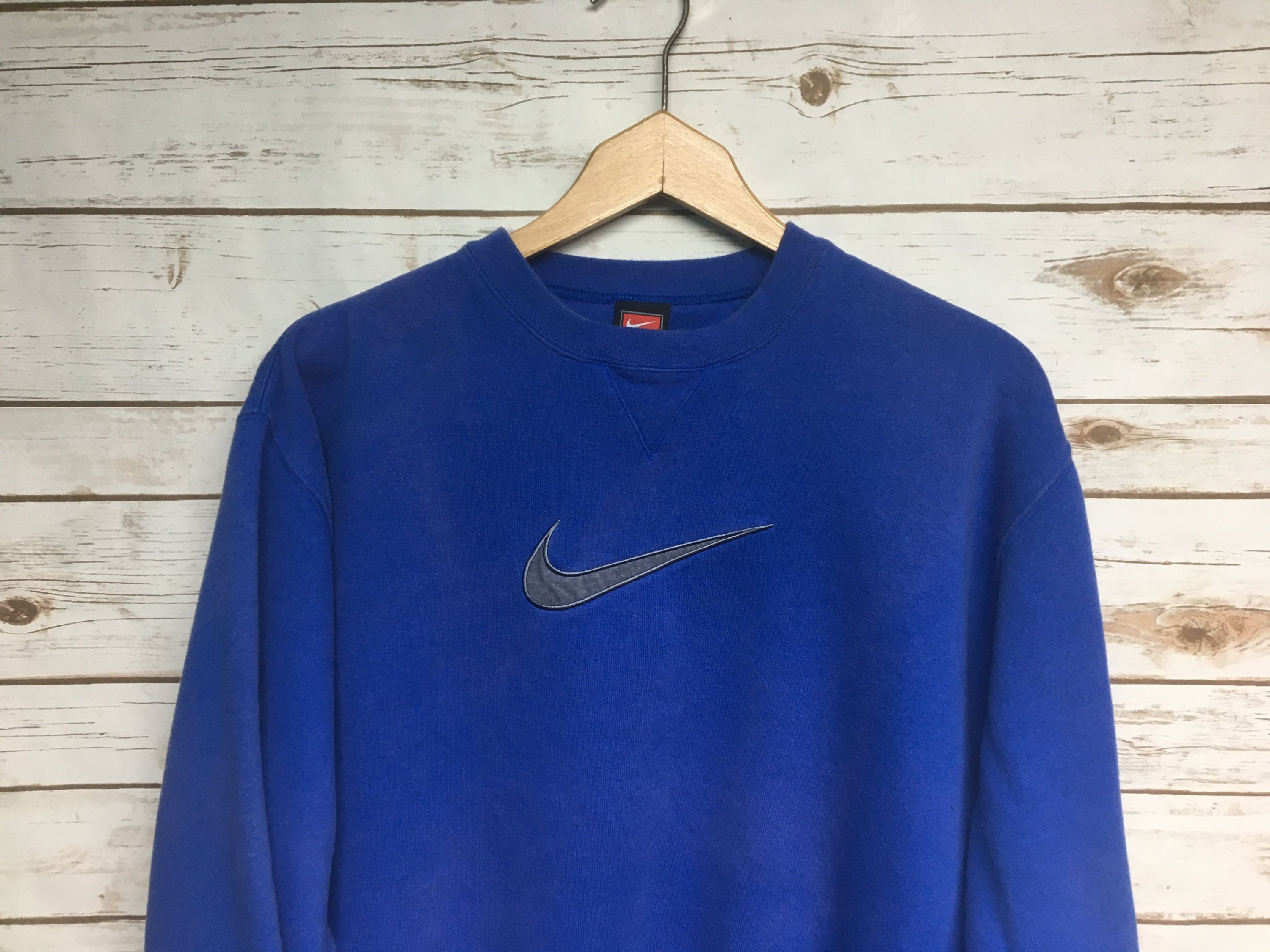 Vtg 90's Nike crewneck sweatshirt Faded blue Nike swoosh embroidered crew neck sweatshirt Just Do It Nike team Medium