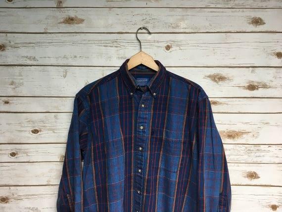 Vintage 90's Pendleton Cotton flannel shirt blue p