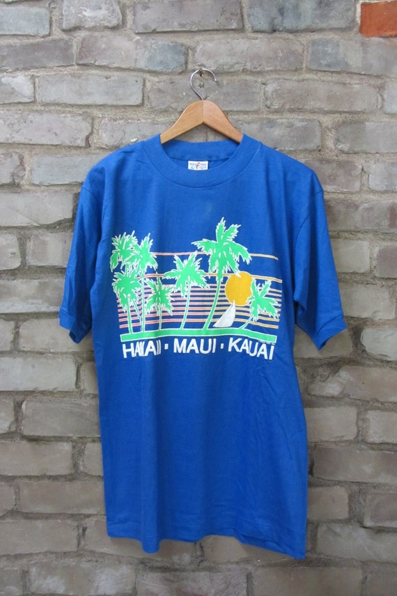 Vintage 80's Hawaii Souvenir T shirt Hawaii Maui Kaui palm trees surfing sailiny sunset beach blue super soft Poly tees LargeMaedium
