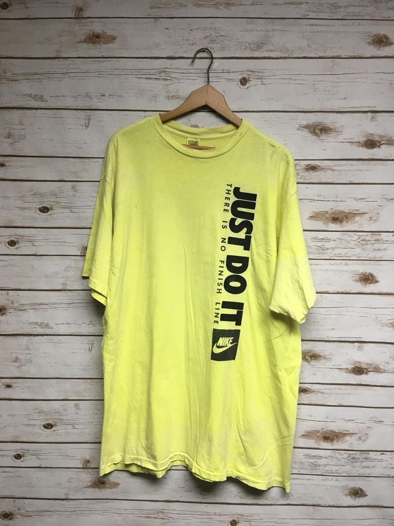 4c16cc6262165 Vintage 80's Nike Just Do It distressed tshirt Gray tag yellow Made in USA  t-shirt hip hop Nike tee - XL