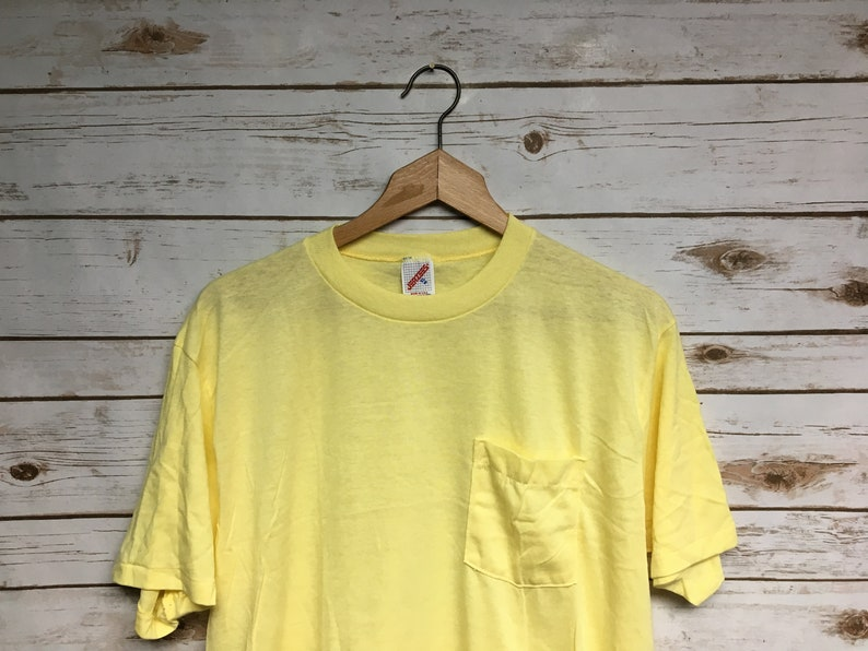 25d1e2078c491 Vintage 70's 80's Jerzees pocket t Yellow blank tshirt 50/50 super soft and  thin NOS Never worn New old Stock Made in USA - Large/XL