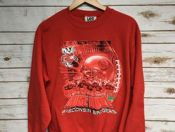 Medium 1999 Rose Bowl Champions University of Wisconsin Football men/'s sweatshirt vintage crewneck 90/'s Lee Sport 1990/'s red black white